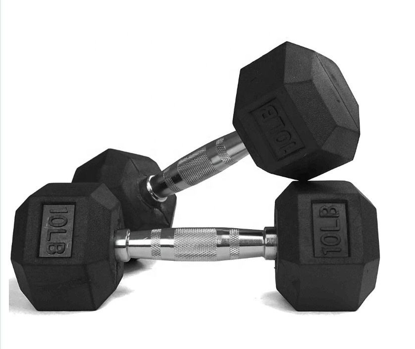 Factory Directly Sale Hex Rubber Dumbbell Set Gym Dumbbell