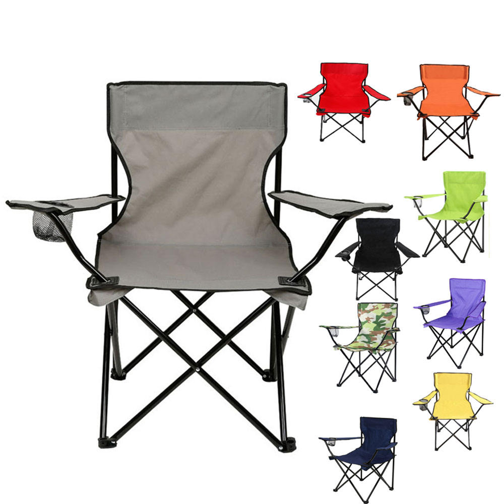 Outdoor portable beach chair custom logo printing with arm rest and cup holder foldable chair folding chair camping