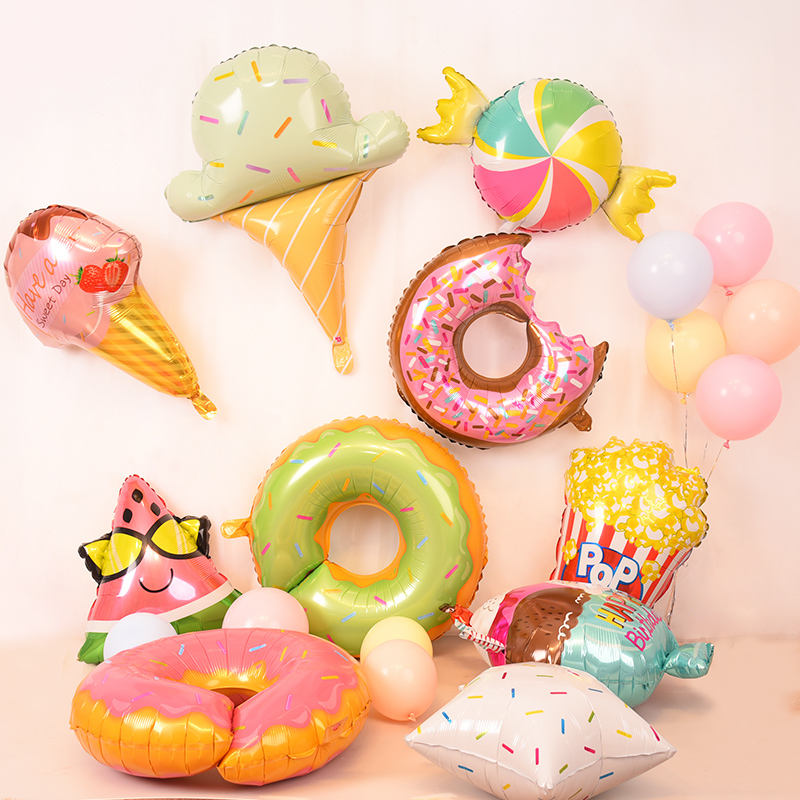 Pink baby happy birthday decorations cheap cartoon donut candy foil balloon