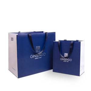 Creative gift bag custom clothing shopping bag jewelry blue paper bags custom printed logo
