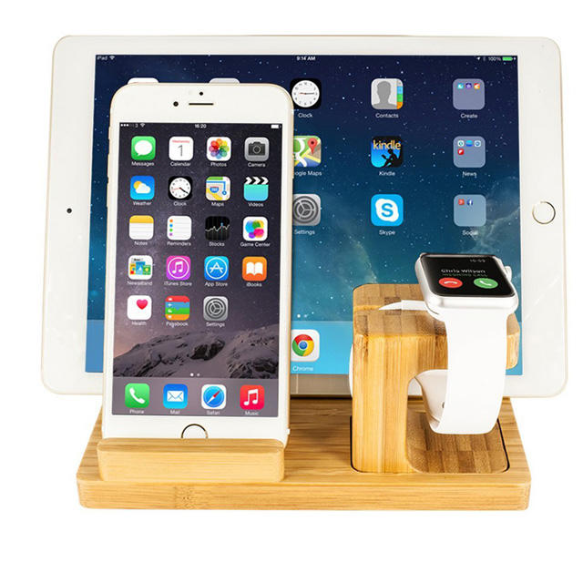 Natural bamboo and wood mobile phone stand Wood Watch Pad Stand phone Charging Station