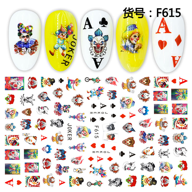 Bin 3d nail sticker halloween style nail art decoration wraps nail polish sticker
