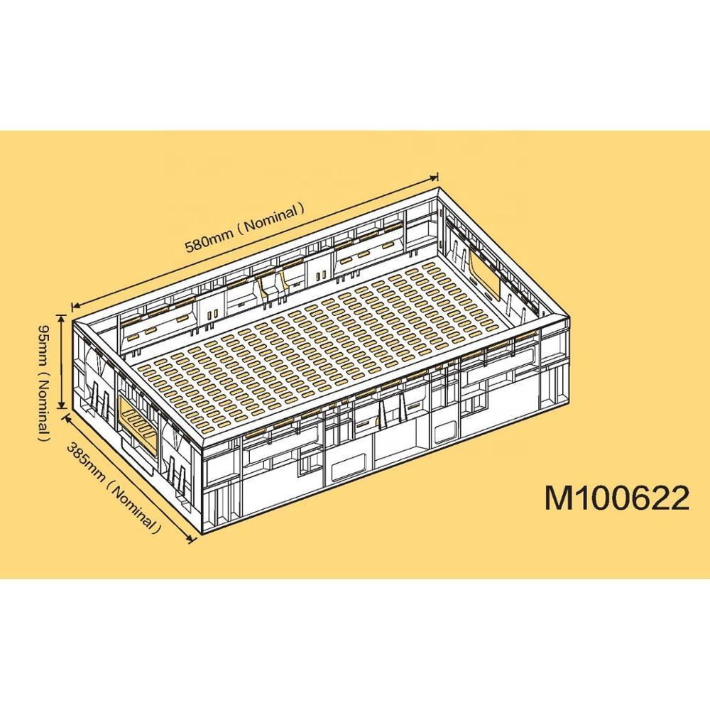 25L Plastic foldable fruit and vegetable crate supermarket foldable crate