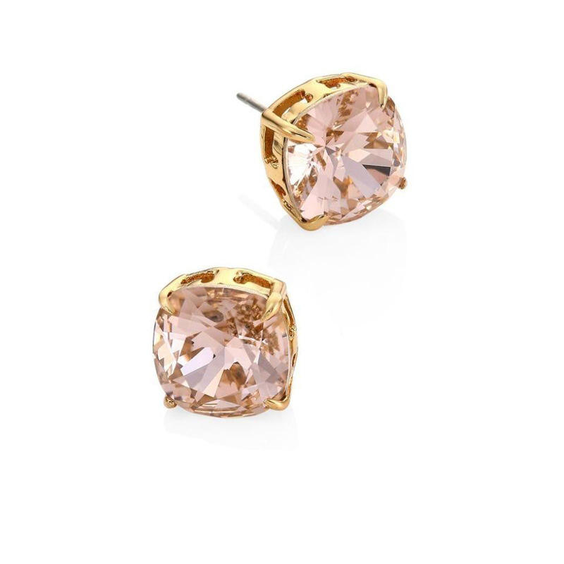 Minimalist gold plated copper large square cubic zircon cz stud earring smoke pink diamond zircon stud earrings women