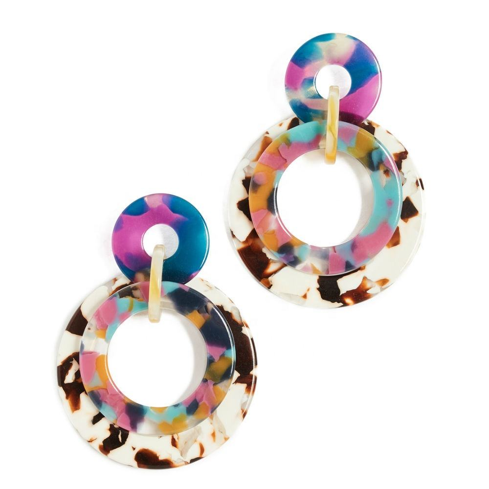 INFANTA JEWELRY earring latest fashion multicolor resin circle round dangle acetate earrings hoop earrings wholesale