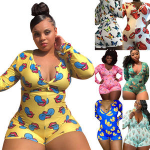 Hot Selling Fat Lady Pajamas One sie Sleepwear Casual Homewear Print Rompers Button Women Plus Size Adult One sie Pajamas 5XL