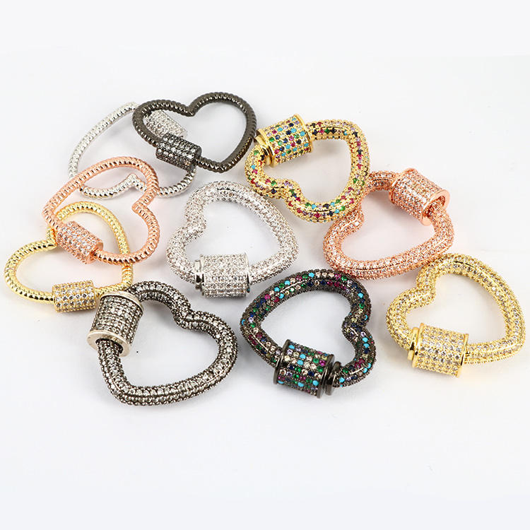 CZ7793 Gold/Rose gold/Gunmetal/Silver Plated Diamond CZ Micro Pave Heart Shape Screw Claw Clasps
