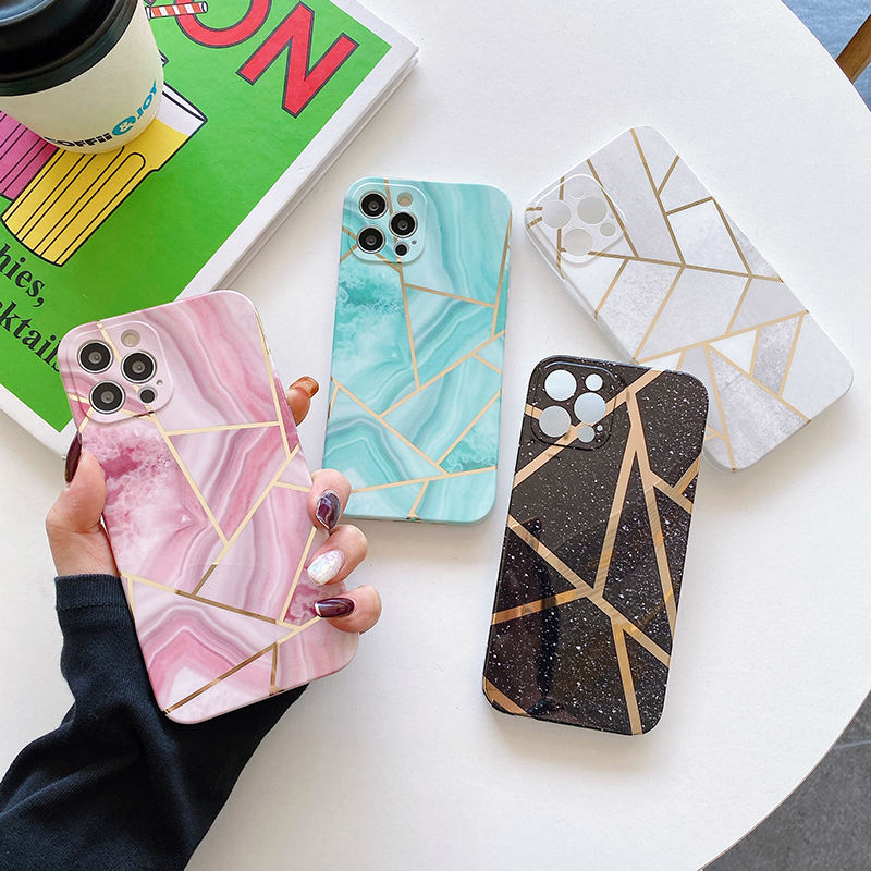 IMD Printed Gold Luxury Cell Phone Cover For iPhone 11 12 Geometric Stripe Marble Phone Case
