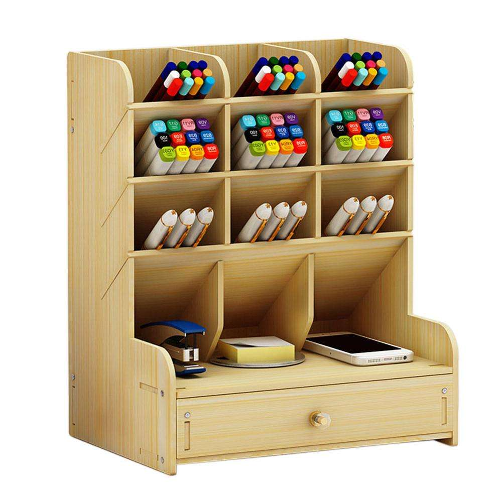 Multi-function Pen Holder Office accessories School stationary Storage Case Desk Pen Pencil wooden organizer