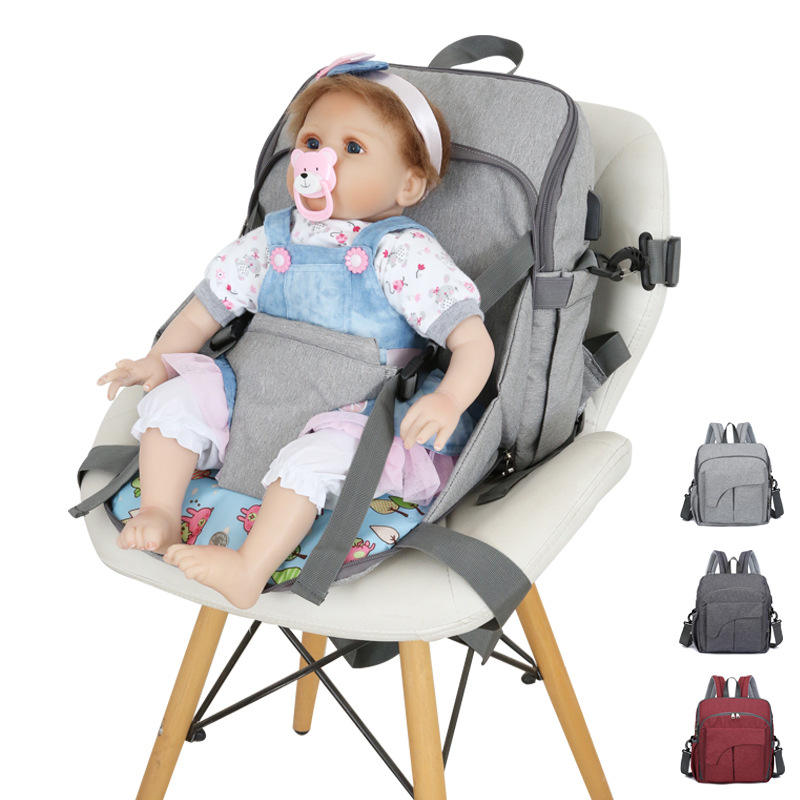 Hot Sale Multi-functional Mommy Baby Changing Diaper baby seat diaper bag Backpack For Outdoor Traveling