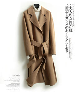 classic women overcoat cashmere wool full length coat with belt ladies cashmere jacket