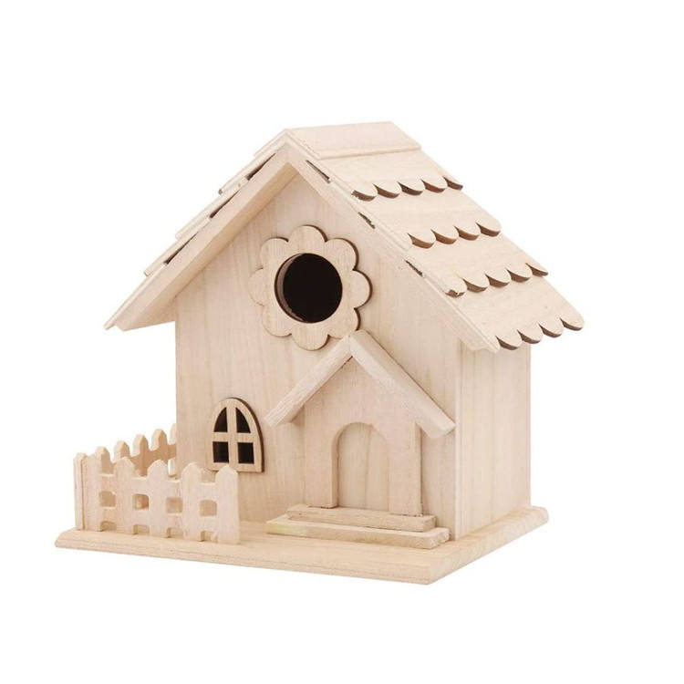 ชุด 4 pcs ตกแต่ง nesting MINI Decor แขวน Solid wood BIRD House Feeder