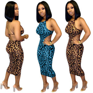 New Arrival Backless Leopard Print Women Dress Sexy Night Club Dress For Women