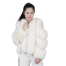 Italian Style High Street 2020 Winter White Real Fox White Fox Red Fox Fur Coat For Women