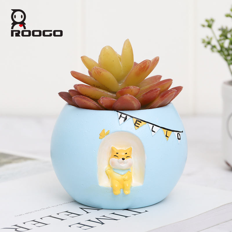 Roogo Pot Bunga Mini Blue Round Sky Penanam Pot