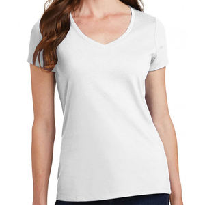 100% Cotton 150gsm Custom Logo Design Printed Tshirt Fashion Women V Neck Blank Plain T-shirts
