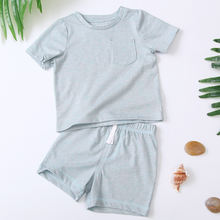 2020 Factory direct hotsale cute baby boy clothes t-shirt and short summer solid baby boy set