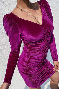 Purple Dress Women Elegant Fashion Dresses Elegant Long Sleeve Maxi Winter Dresses Women Casual