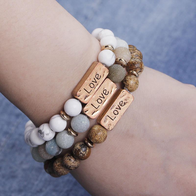 Natural石ビーズストレッチブレスレットHope Love Faith Blessed Stretch Metal Plate Engraved Message Stone Bead Bracelet