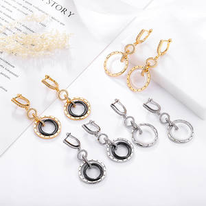 Trendy Ceramic Round Earrings Copper High Quality Cubic Zirconia Plated Gold Silver Drop Earrings For Women For Gifts