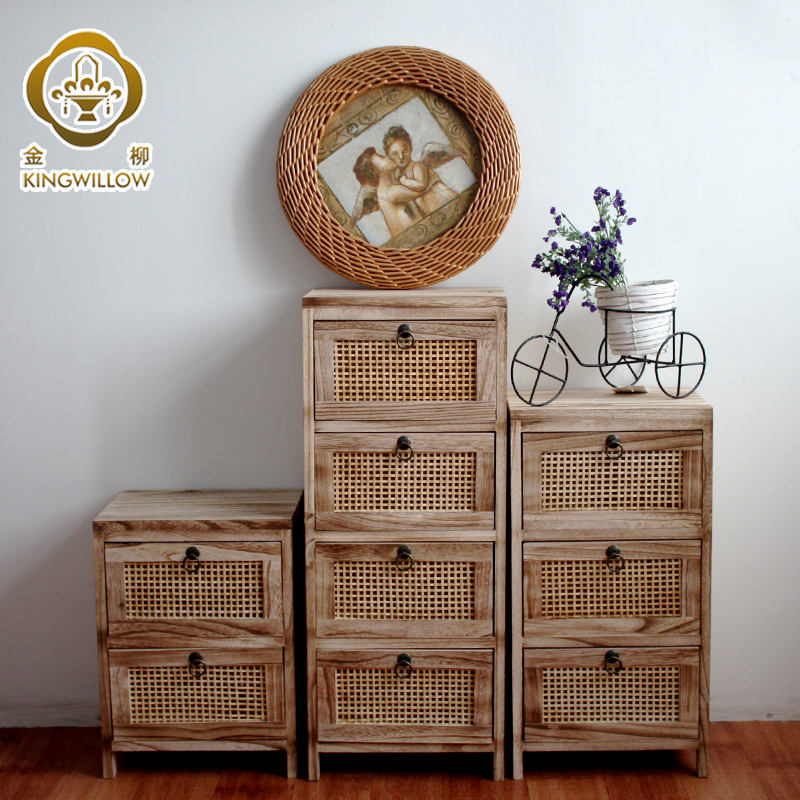 Kingwillow factory wholesale handmade woven wooden storage locker drawer chest cabnit with drawers