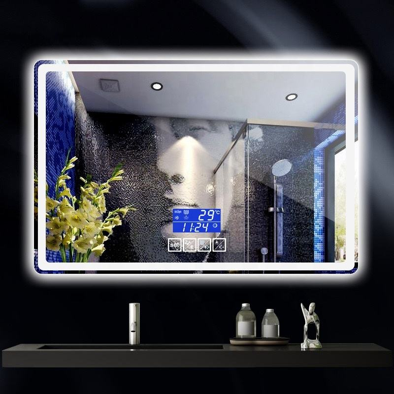 anti fog led bluetooth touch screen makeup illumin bathroom wall mirror with clock