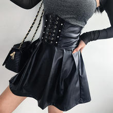 R30219S new arrival sexy plain pu leather slim women's skirts