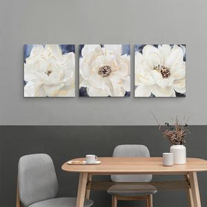 Wholesale White Floral Picture Custom Print on Canvas 3 Panel Wall Art Canvas painting set