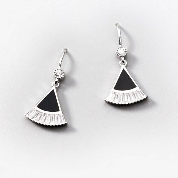 Großhandel Zirkonia Trendy Fashion Schmuck Emaille Chinese Fan Silber Stud Ohrringe 925 Sterling