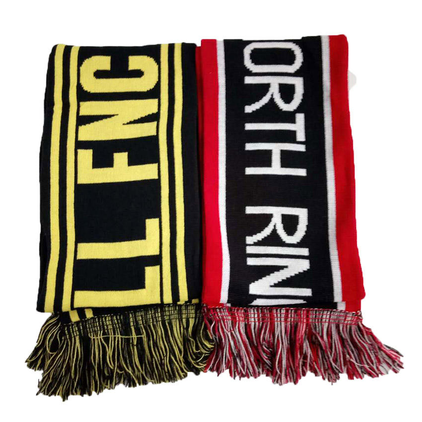 Logo custom factory price 100 acrylic knitted football club scarf/knitted adult winter scarf