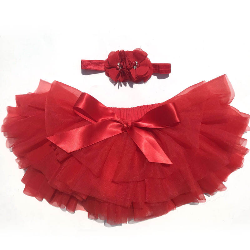 Newborn 1-3years old kid girl mini fluffy tutu skirts with hair accessories