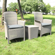 Modern Outdoor Garden Furniture Balcony Used Grey Black Plastic Chair Set
