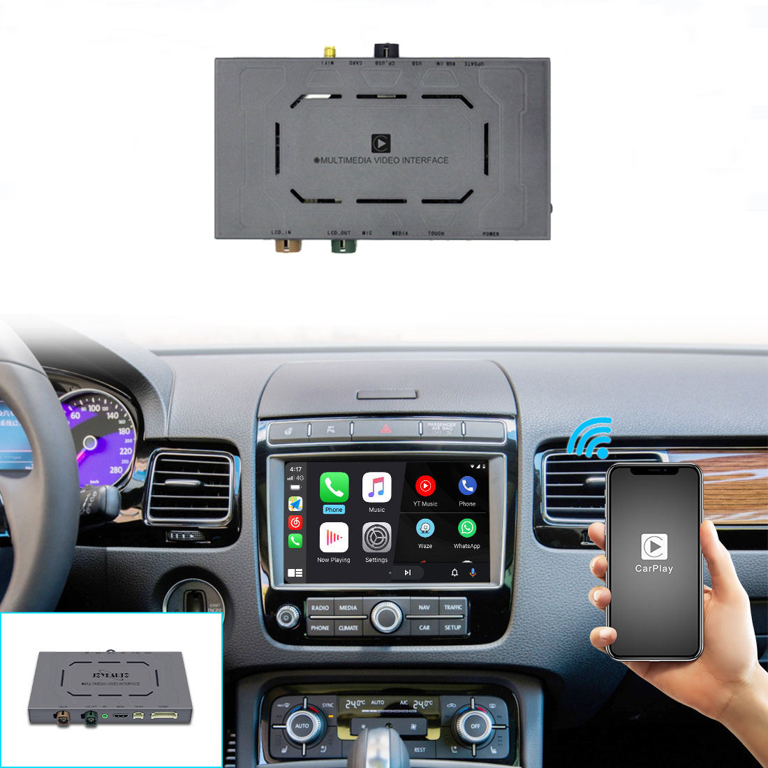 Wireless Apple CarPlay for Volkswagen VW Polo Golf Touareg Tiguan Teramont Passat 2010-2019 Android Auto Module Video Interface
