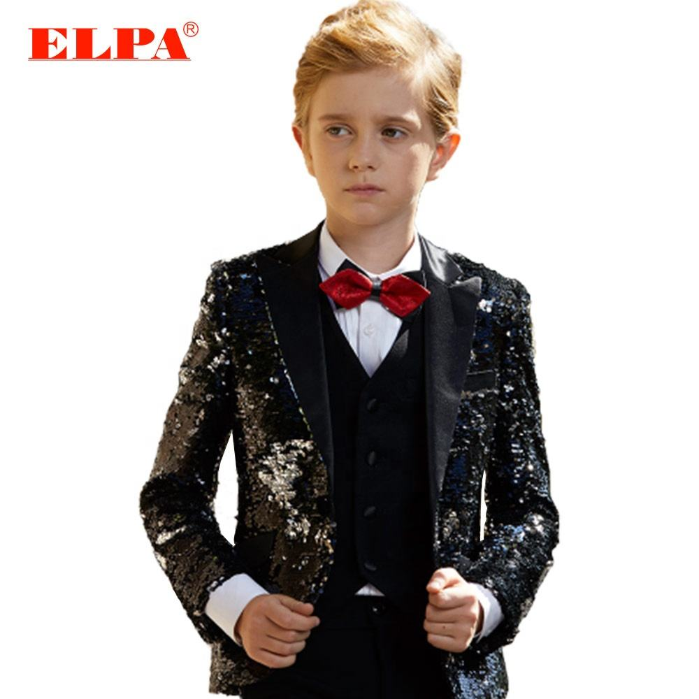 ELPA slim fit black sequence kids latest design fancy party wedding occasion wear formal suits for boys