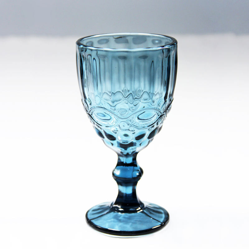Special promotion antique color moet chandon light blue silver plated pink rose gold water wine glass goblet in glass