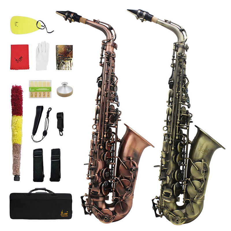 SLADE Eb types cyan-blue red Imitate classical antique style alto tenor saxophone professional instrument with case bag