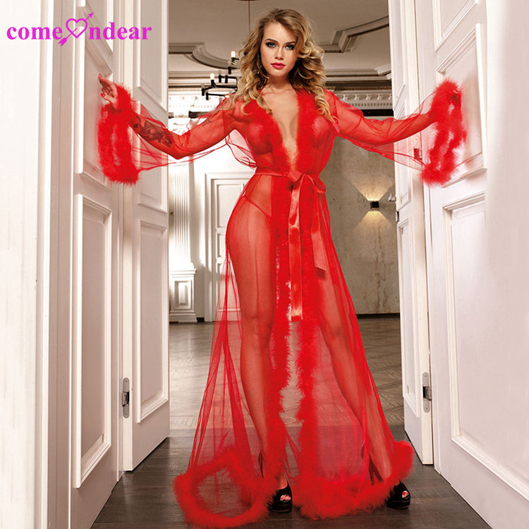 ComeOnDear New Design Red Adult Fur Transparent Long Gown Sexy Lingerie