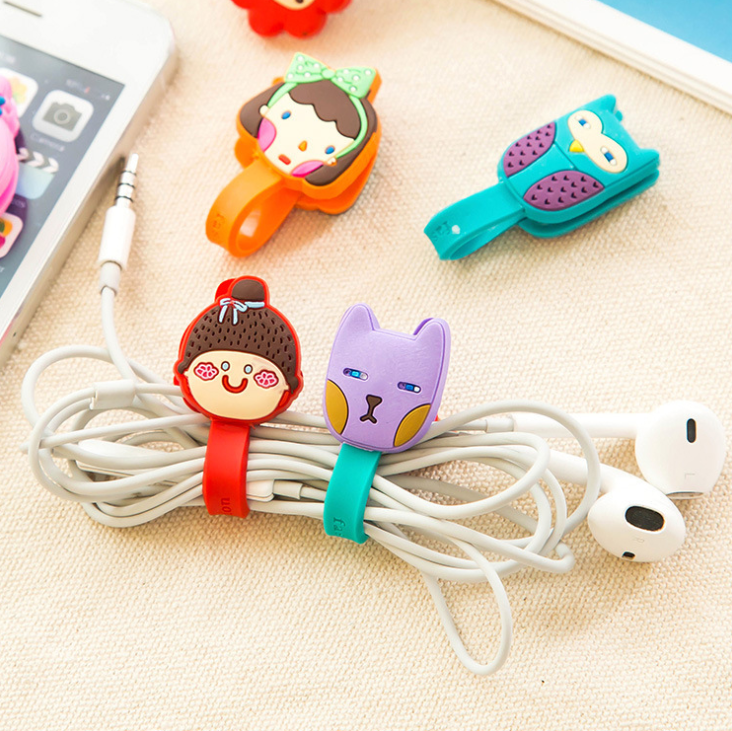 Grosir Kustom Lembut PVC Kabel Winder Kawat Kabel Earphone Kabel Pemegang Organizer Kabel Earphone Wrap Kabel