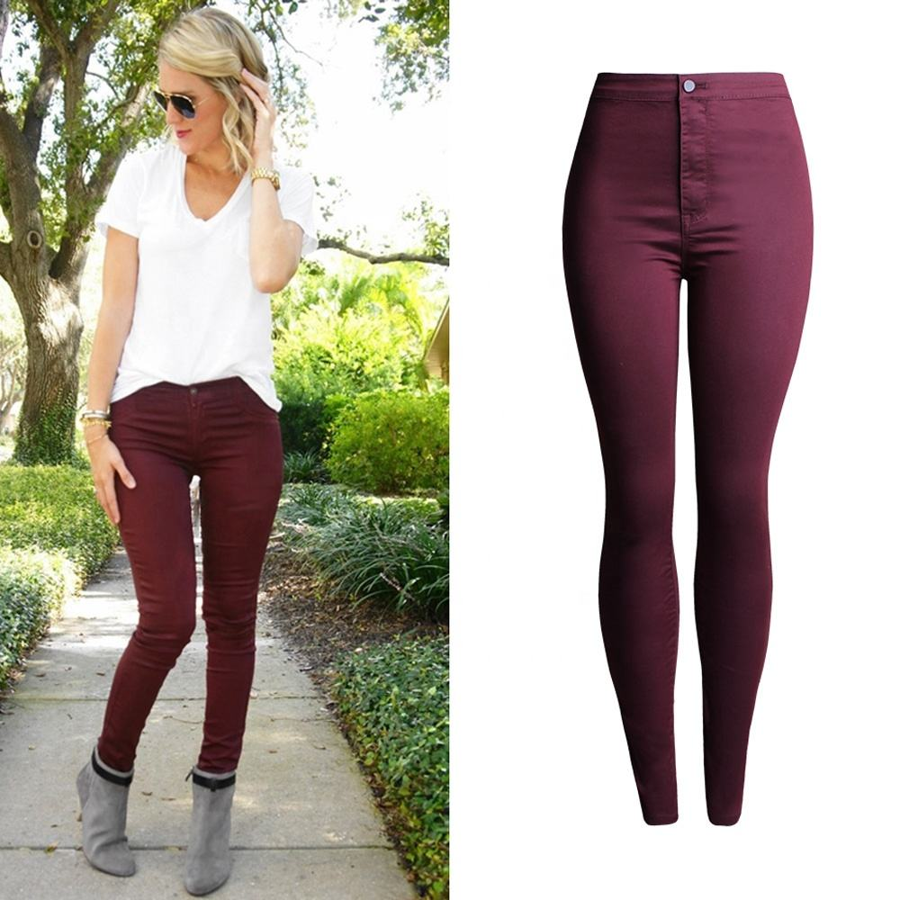 High Waist Colorful Stretchy Skinny Jeans Women's Jean Look Tights Slimming Many Colors Leggings Pants