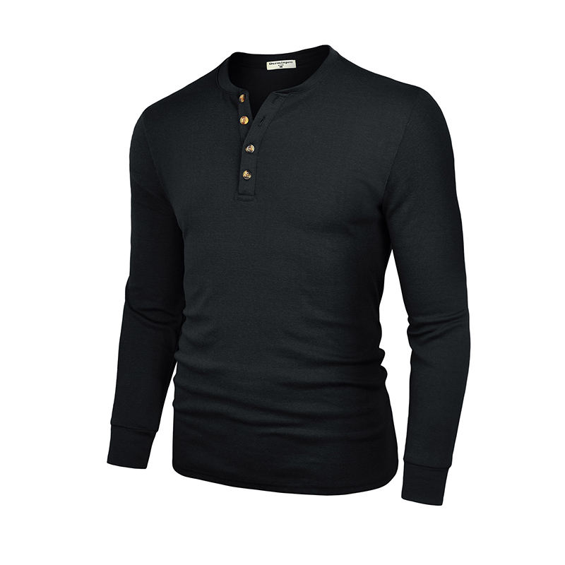 Low MOQ custom service plain man black long sleeve henley O neck button placket t shirt for men