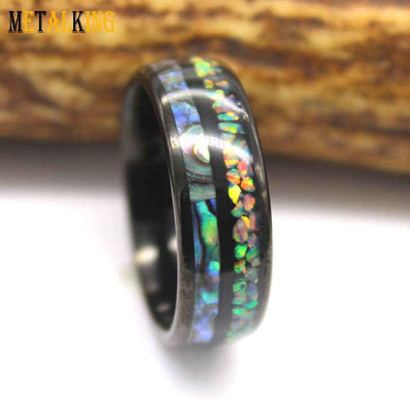 8mm Tungsten Carbide Wedding Band with Opal and Abalone Shell Inlay Black and Dome Finish