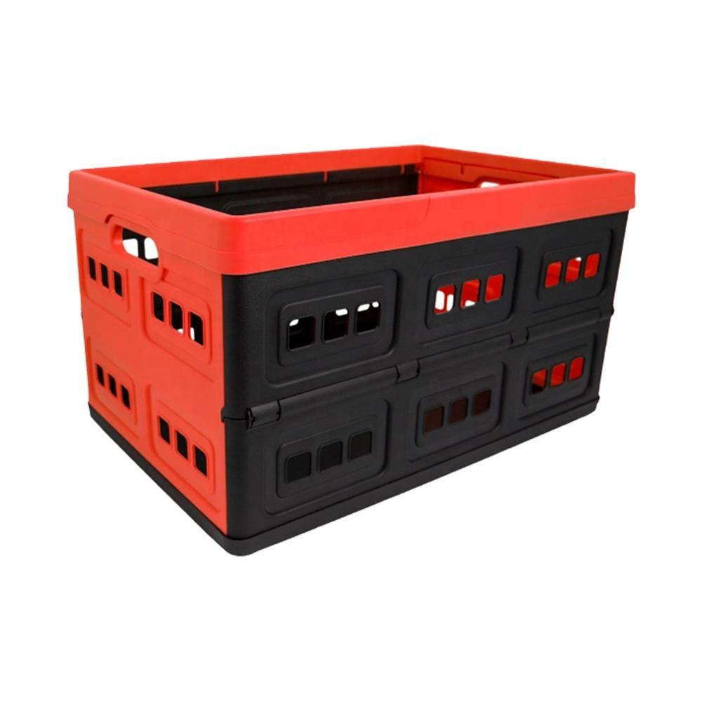 Collapsible Plastic Storage Box Foldable Perforated Storage Crate Durable Stackable Folding Utility Crate With Perforated Sides