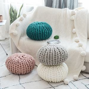i@home Creative round nordic solid color handmade knitted pouf sofa seat throw cushion pillow