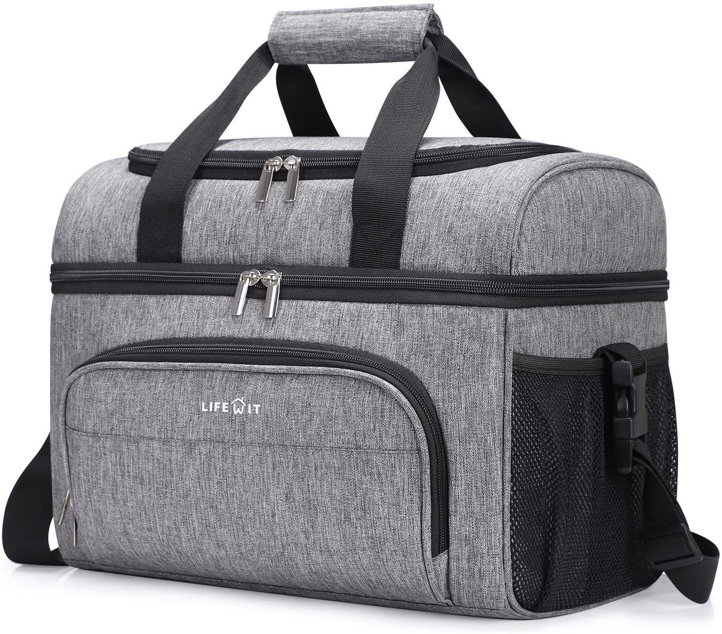 32 can Grey Collapsible Leakproof Picnic large lunch Insulated Cooler Bag tote