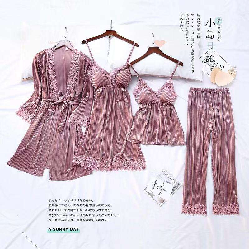 chinese 4-piece set flannel high quality sets popular sleepwear sexy pajamas