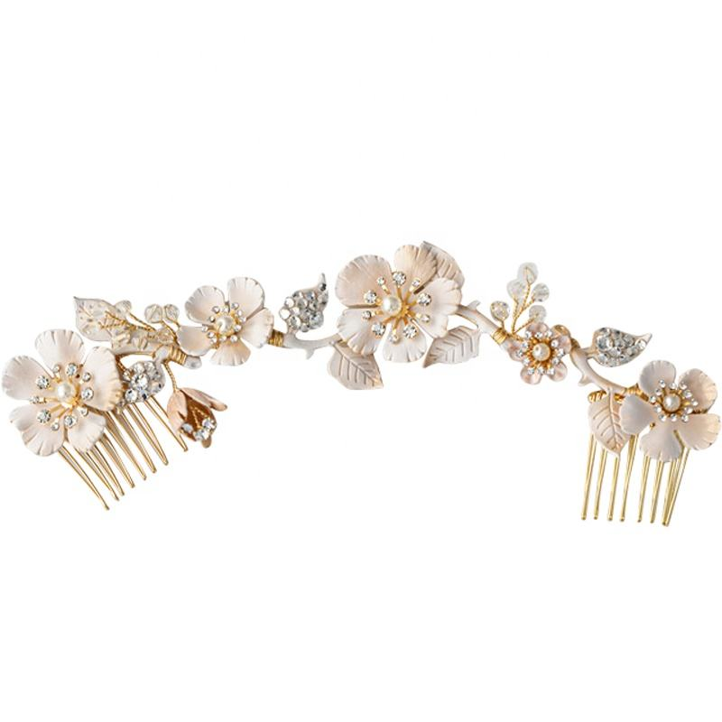 Elegant rhinestone white and vintage gold rose vine double comb bridal wedding hair accessories