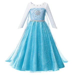 Girls Elsa Dress With Long Trailing Lace Bling Sequined Split Hem Fall Long Sleeve Kids Role Playing Princess Party Costumes