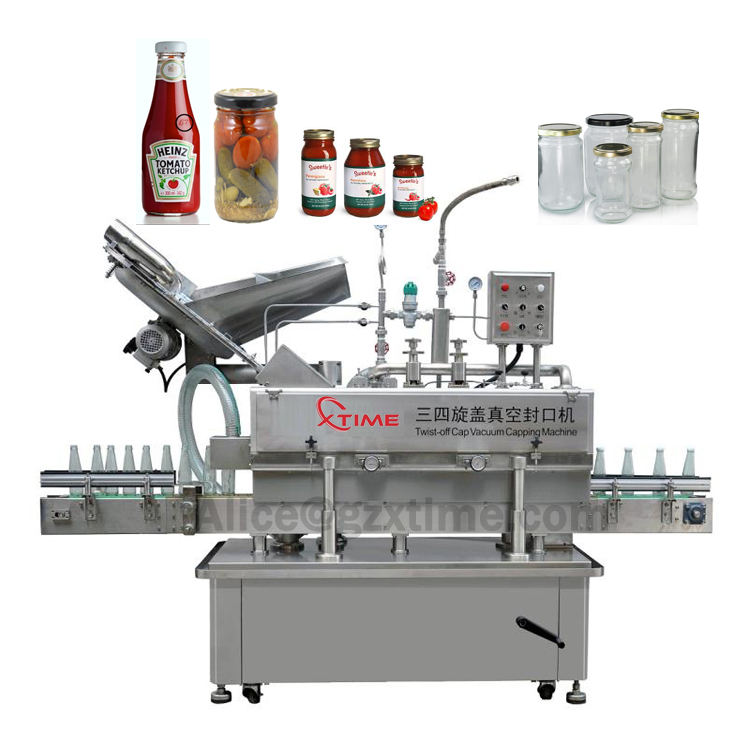 Automatic vacuum capping machine for food sauce jars glass containers bottles