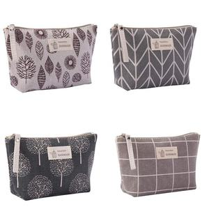High quality beauty makeup pouch cotton canvas cosmetic bag with zipper cotton organizer female zipper purse