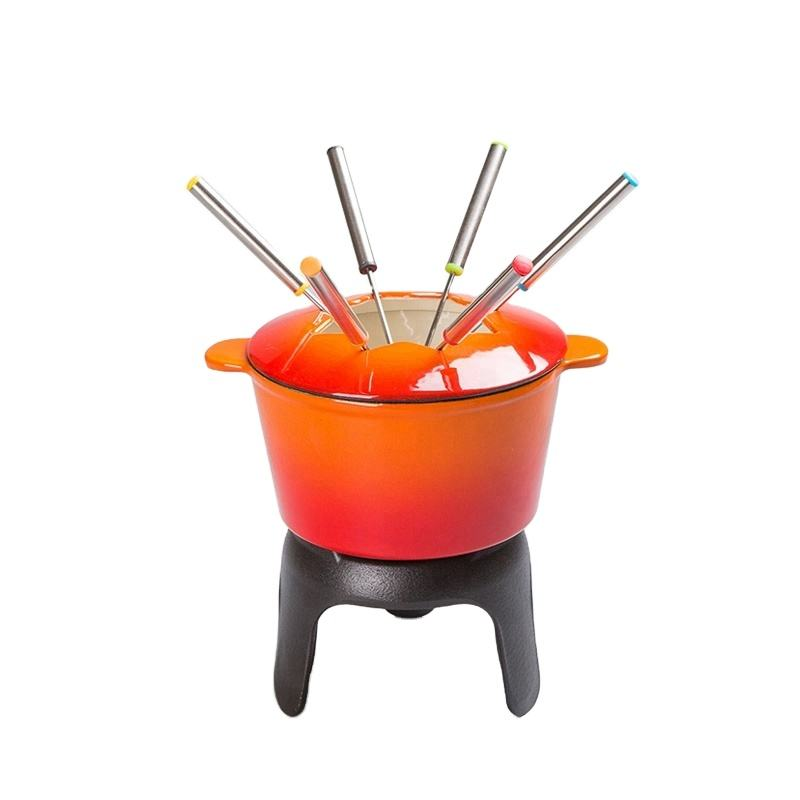 online health enamel hot sale melting pot cast iron cheese chocolate fondue